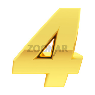 Gold number 4 with gradient reflections isolated on white. High resolution 3D image