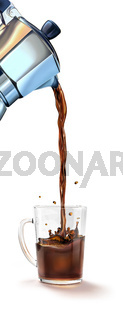 Moka coffee machine pouring coffee into a glass mug splashing.