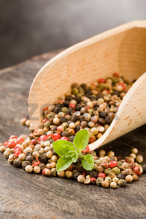Shovel with mixed pepper beans