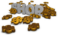 the word shop and many dollar signs - 3d rendering