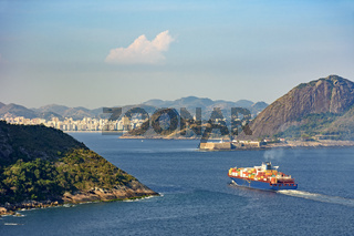 Cargo ship, loaded with containers, entering the Guanabara bay