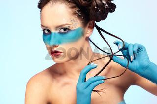 girl's fantasy blue body-art