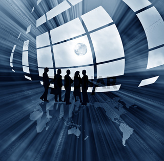 Abstract business illustration with globe