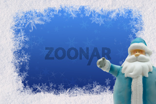 Postcard greetings for the New Year with snow and Santa Claus. Space for text