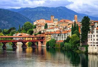 Bassano del Grappa, small medieval town in the Alps mountains, Veneto region, Italy