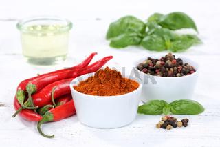 Gewürze kochen Zutaten Paprika Pulver Paprikapulver rote scharfe Peperoni