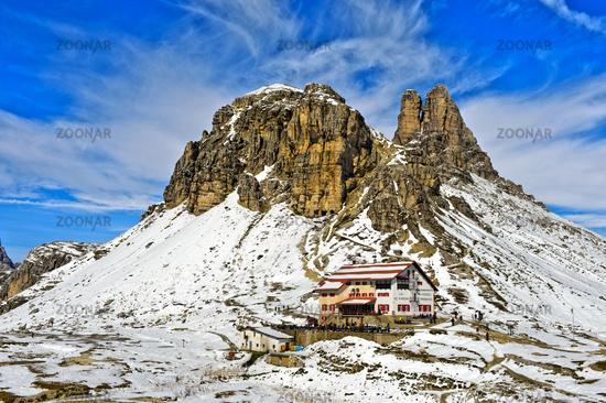 Dreizinnenhütte, Rifugio Locatelli hut, Sesto Dolomites, South Tyrol, Trentino-Alto Adige, Italy