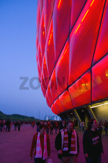 Allianz Arena in Rot