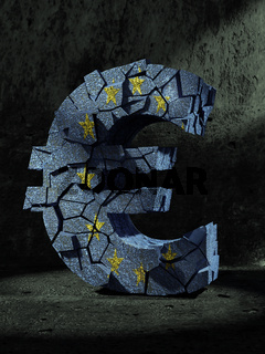 3D rendering of fractured Euro currency symbol wrapped around with EU flag over dark gray background