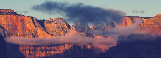 Zion at sunset