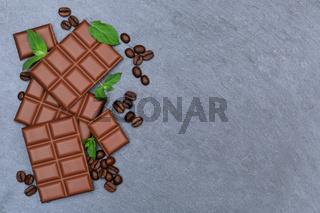 Schokolade Milchschokolade Tafel Schiefertafel Süßigkeiten Essen Textfreiraum von oben