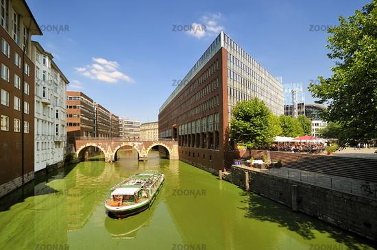 Hamburg, Germany, Medieval Bridge and Steigenberger Hotel
