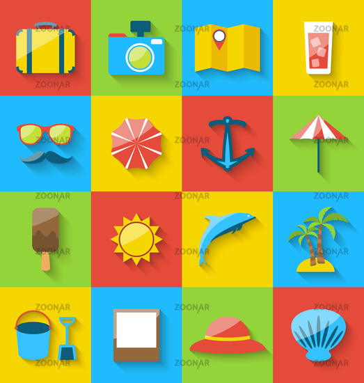 Flat icons of holiday journey, summer pictogram, sea leisure, colorful simple icons with long shadow