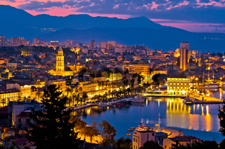 City of Split aerial view at dawn