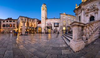 Panorama of Luza Square, Sponza Palace and Orlando Column in Dubrovnik, Dalmatia, Croatia