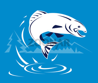 Salmon jump right
