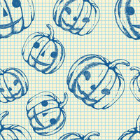 Halloween pattern, hand drawn sketch pumpkins