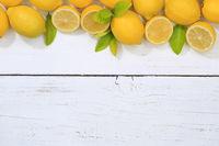 Zitrone Zitronen Früchte Textfreiraum von oben