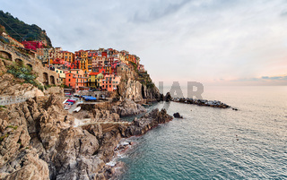 Sunset over Manarola, Italy
