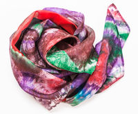 crumpled headscarf with abstract pattern on white