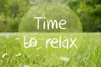 Gras Meadow, Daisy Flowers, Text Time To Relax