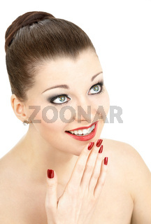 The portrait of the enthusiastic beautiful young woman isolated