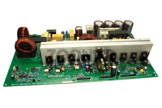 Type of electronic circuit boards with uninterrupted power supply. Isolated on a white background.