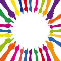 Kreis als mit vielen Daumen hoch in verschiedene Farben