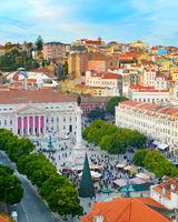 Center Rossio square . Lisbon, Portugal
