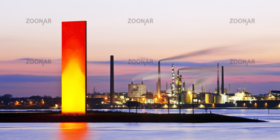 illuminated sculpture Rhine Orange in front of industrial scenery, Duisburg, Germany, Europe