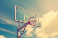 Basketball hoop against sky background