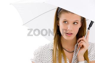 Fashion - young woman umbrella designer clothes