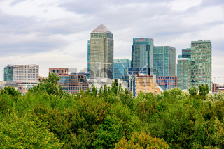 Canary Wharf buildings with trees