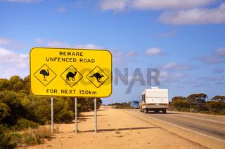 Australia Nullarbor Plain Famous Sign and Caravan