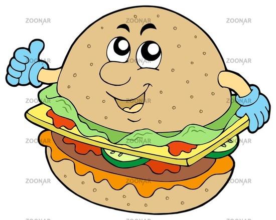 Cartoon hamburger on white background - isolated illustration.
