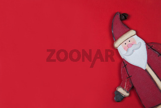 Christmas card on red with santa