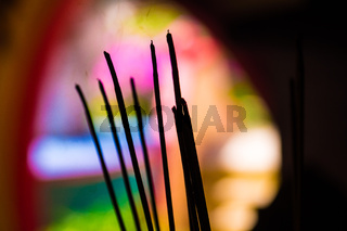 Burning of joss sticks in Chinese temple