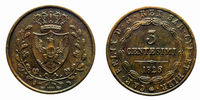 three cents Lire Savoy Copper Coin 1826 Turin Carlo Felice pre-unification of Italy