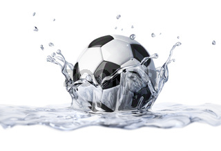 Soccer ball falling into clear water, forming a crown splash.
