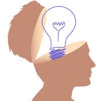 Idea man light bulb drawing in open mind