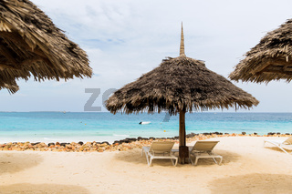 palapa and sunbeds on exotic tropical beach