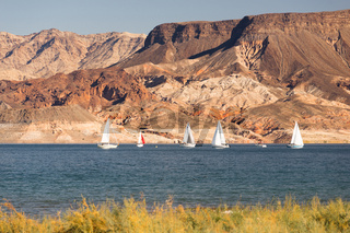 Sailboats Ride Wind Lake Mead Recreation Area Boaters Sail