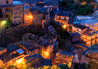 Night Stilo village, Calabria, Italy.