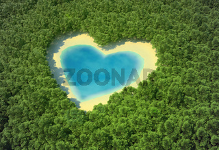 Heart-shaped pond in a tropical forest
