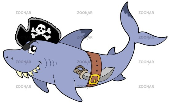 Cartoon pirate shark - isolated illustration.