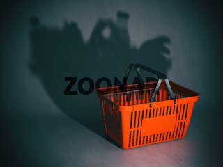 Empty shopping basket with shadow like a full of products and grocery. Poverty or crisis concept,