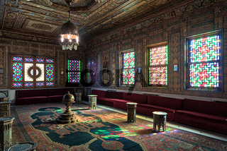 Manial Palace of Prince Mohammed Ali. Syrian Hall with ornate wooden wall and ceiling, windows with colored stained glass and Ottoman Empire logo, Cairo, Egypt
