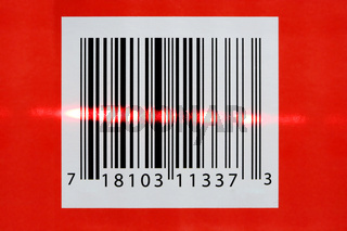 A red Laser reading a barcode