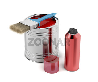 Painting equipment on white background