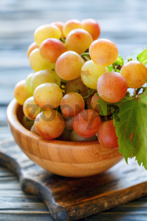 Bunch of pink grapes.